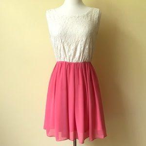 Alythea Cream & Coral Lace Chiffon A-Line Dress